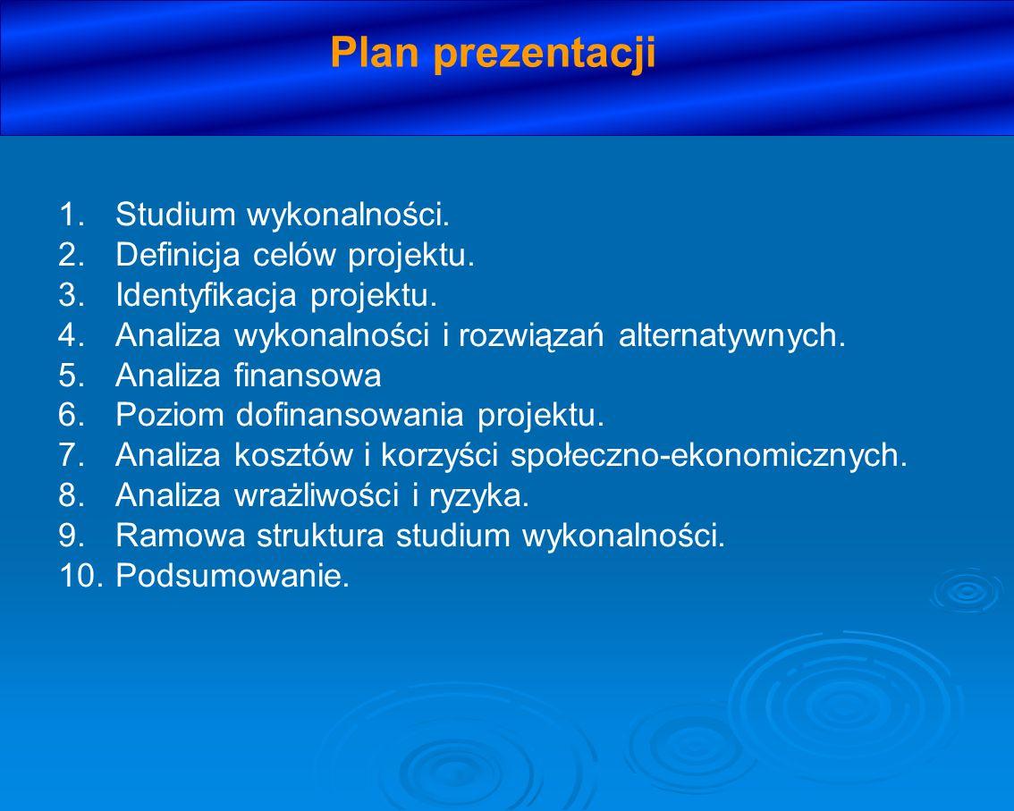 Plan prezentacji Studium wykonalności. Definicja celów projektu.