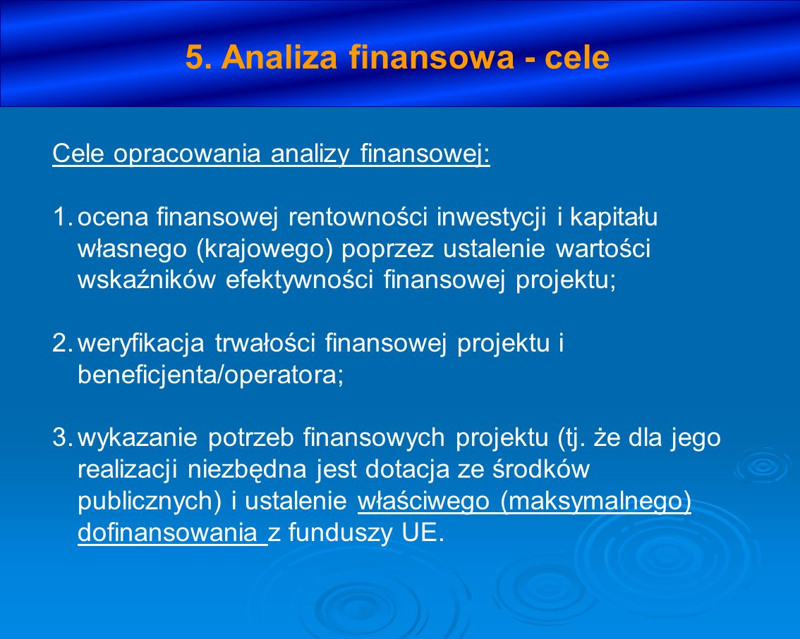 5. Analiza finansowa - cele