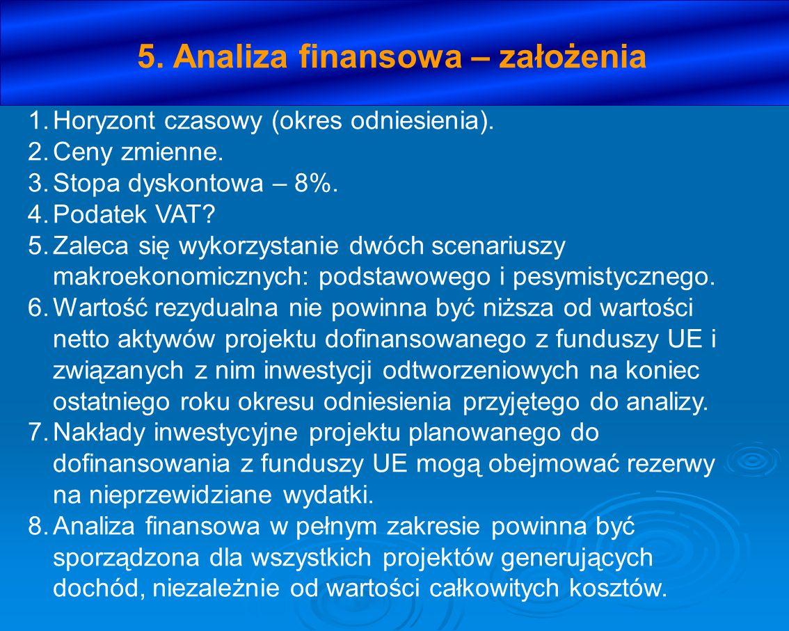 5. Analiza finansowa – założenia