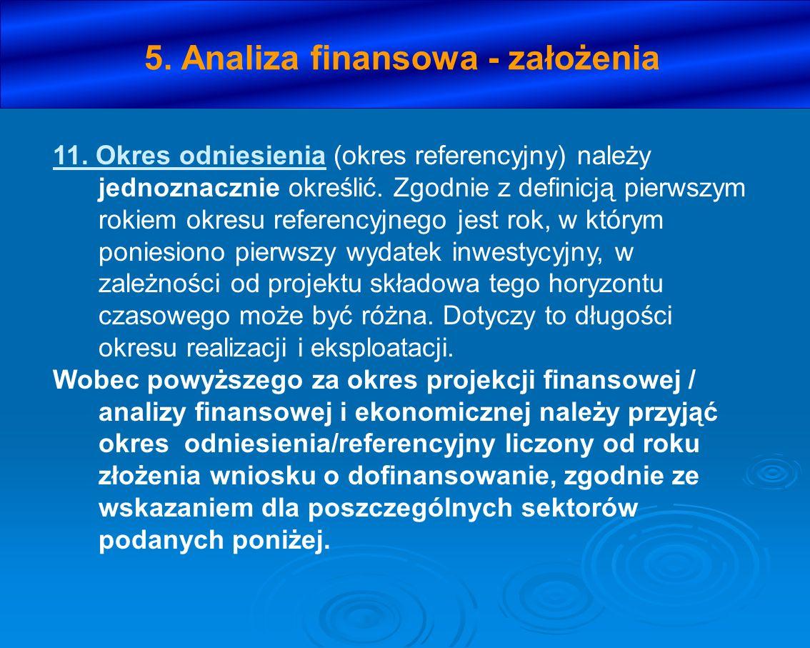 5. Analiza finansowa - założenia