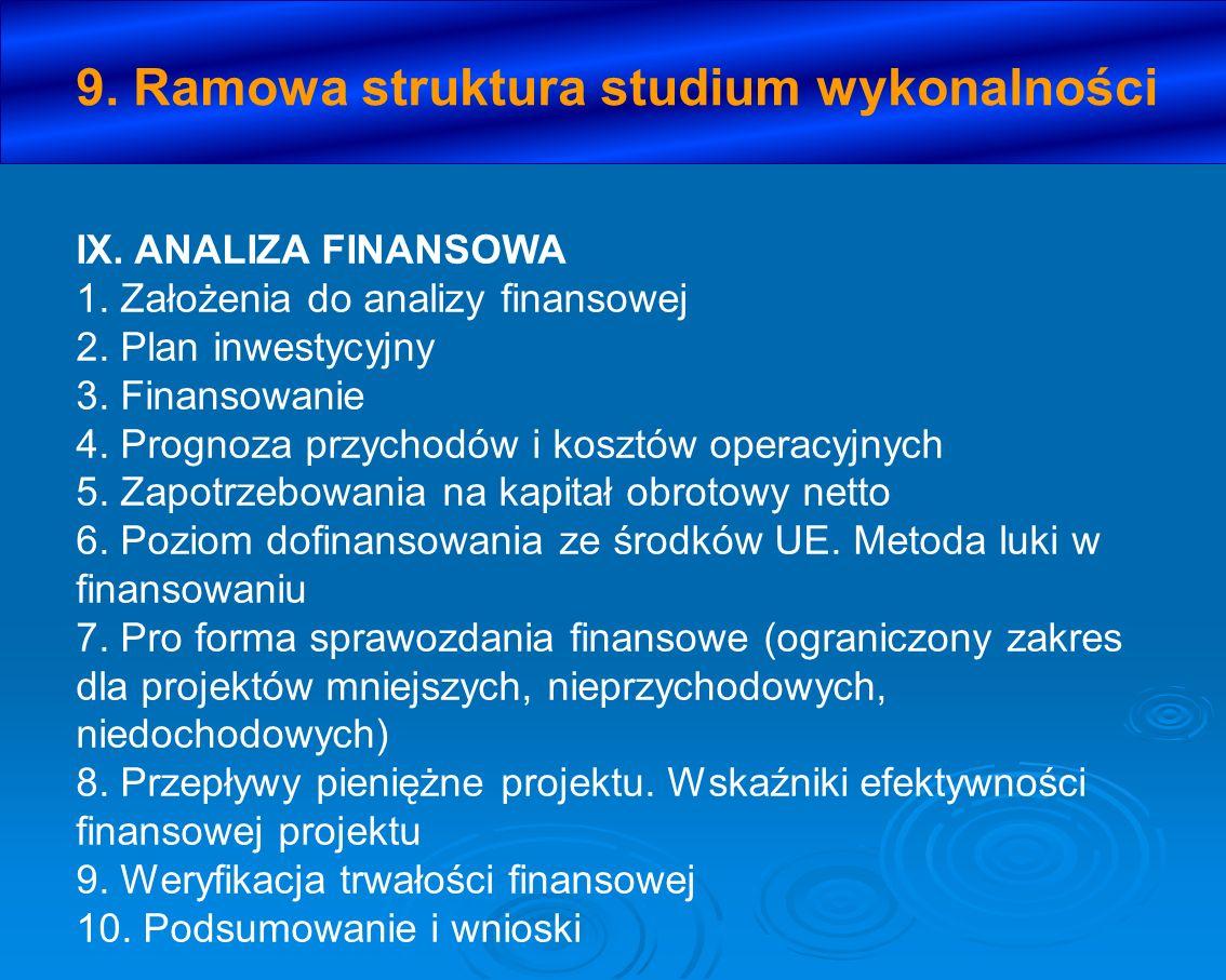 9. Ramowa struktura studium wykonalności