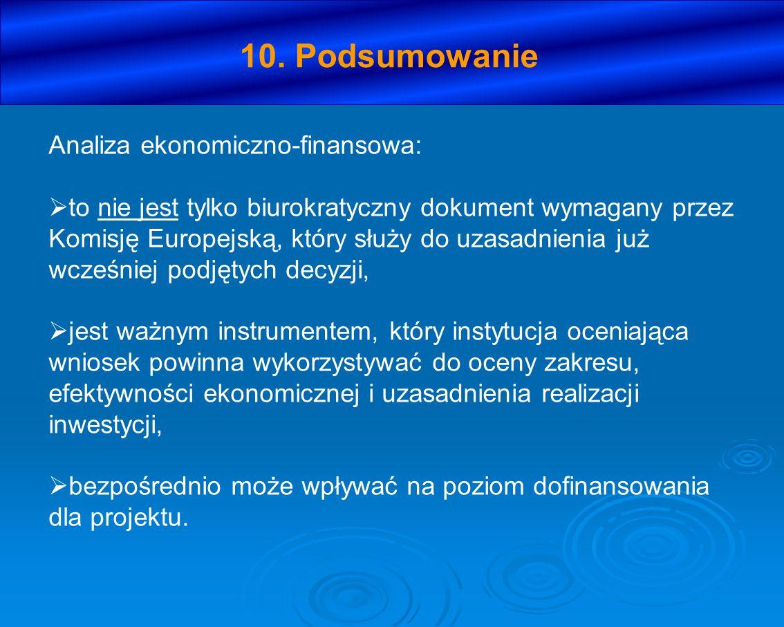 10. Podsumowanie Analiza ekonomiczno-finansowa: