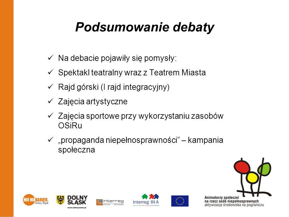Podsumowanie debaty Na debacie pojawiły się pomysły: