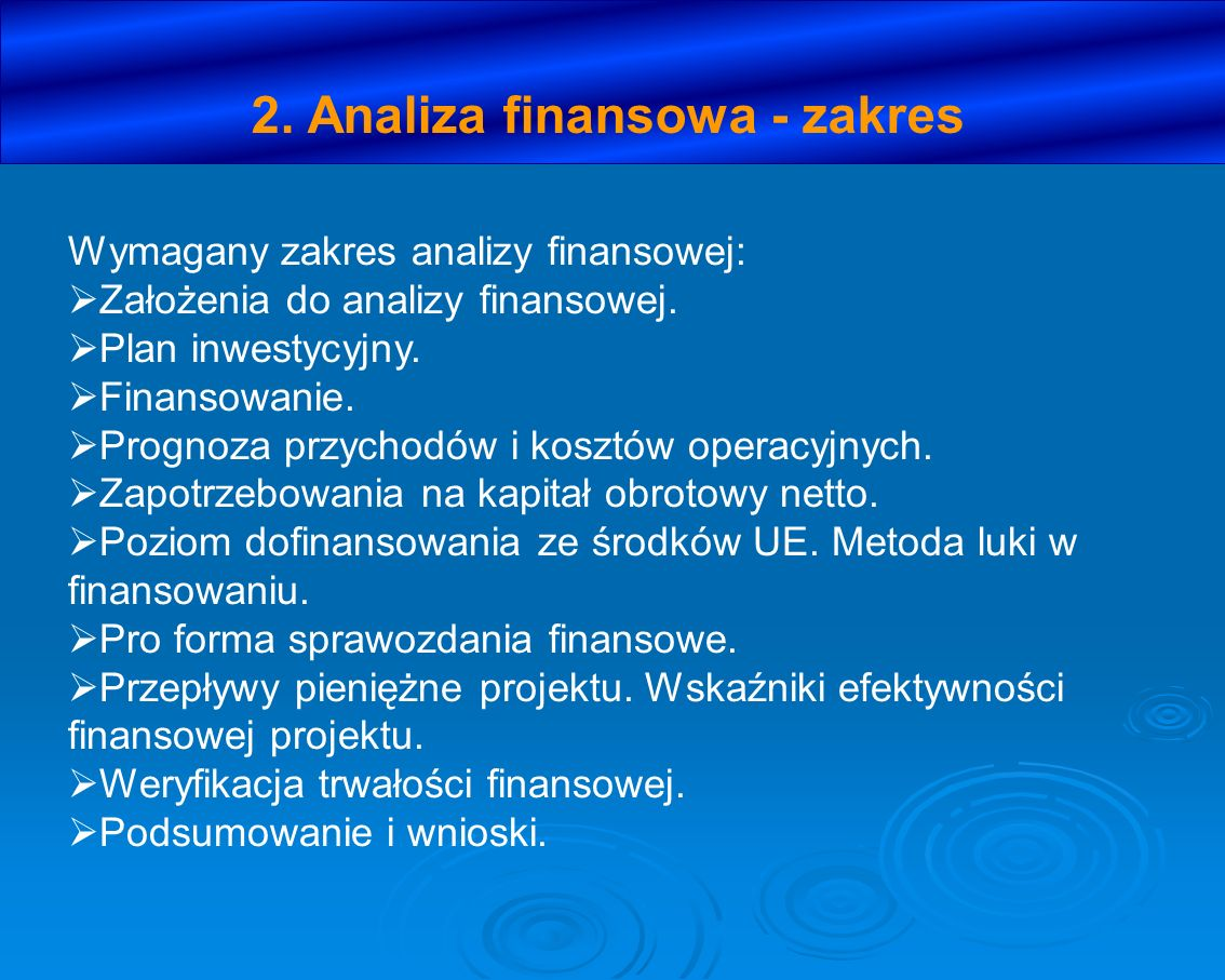 2. Analiza finansowa - zakres