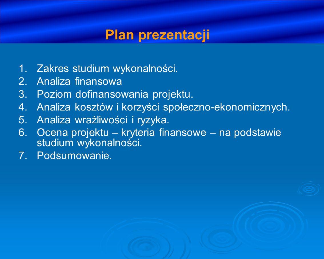 Plan prezentacji Zakres studium wykonalności. Analiza finansowa