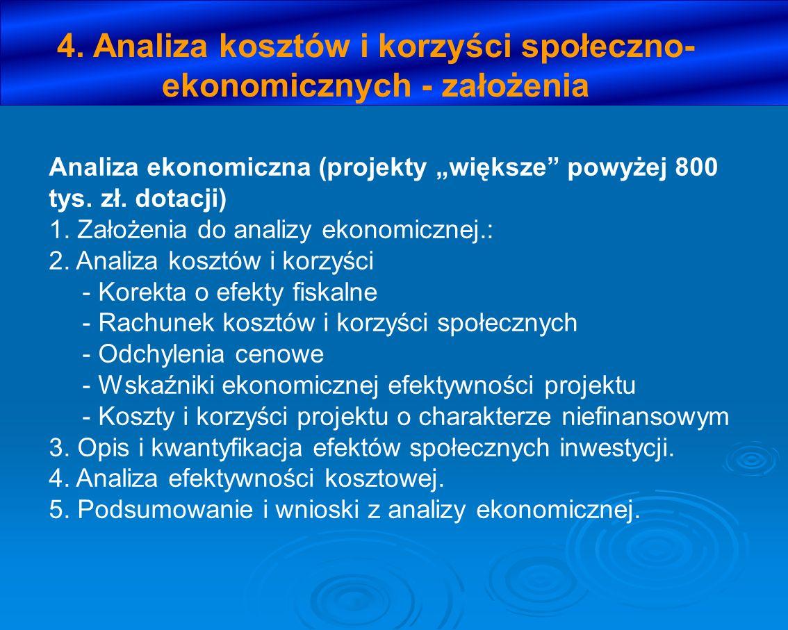 4. Analiza kosztów i korzyści społeczno-ekonomicznych - założenia