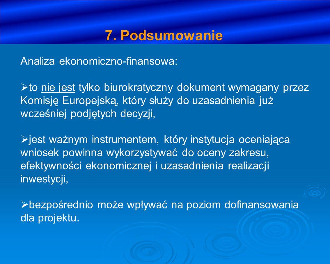 7. Podsumowanie Analiza ekonomiczno-finansowa: