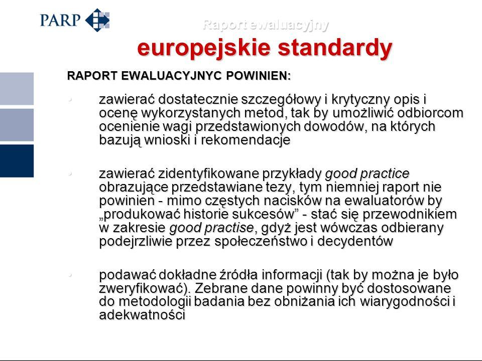 Raport ewaluacyjny europejskie standardy