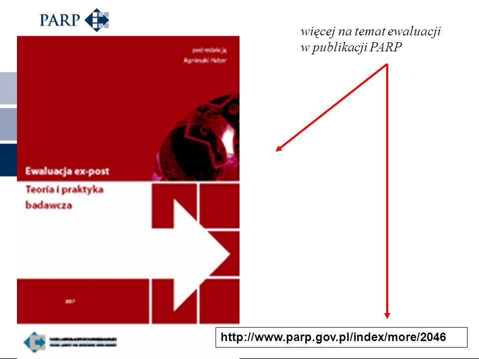 więcej na temat ewaluacji w publikacji PARP