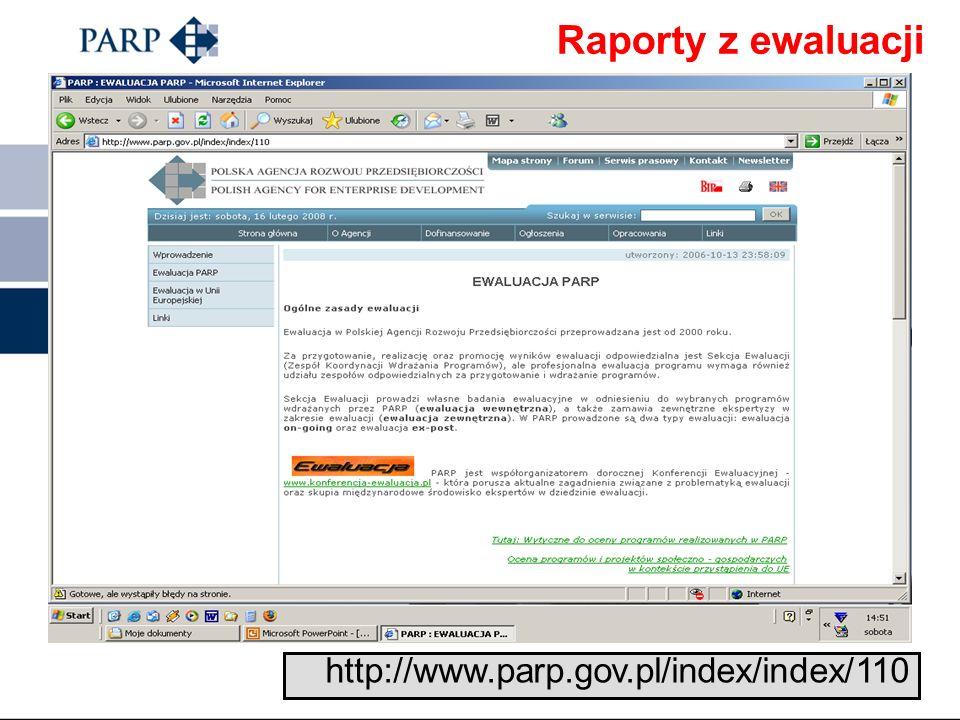 Raporty z ewaluacji http://www.parp.gov.pl/index/index/110