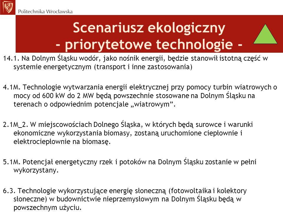 Scenariusz ekologiczny - priorytetowe technologie -