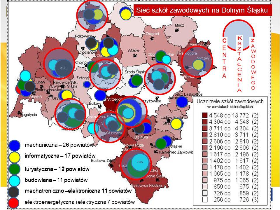 Sieć szkół zawodowych na Dolnym Śląsku