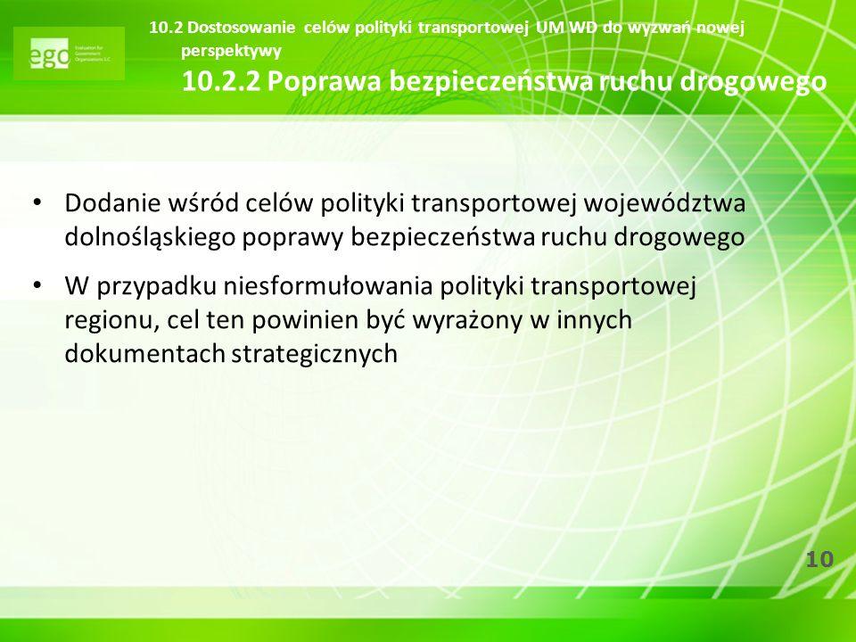 10.2 Dostosowanie celów polityki transportowej UM WD do wyzwań nowej perspektywy 10.2.2 Poprawa bezpieczeństwa ruchu drogowego