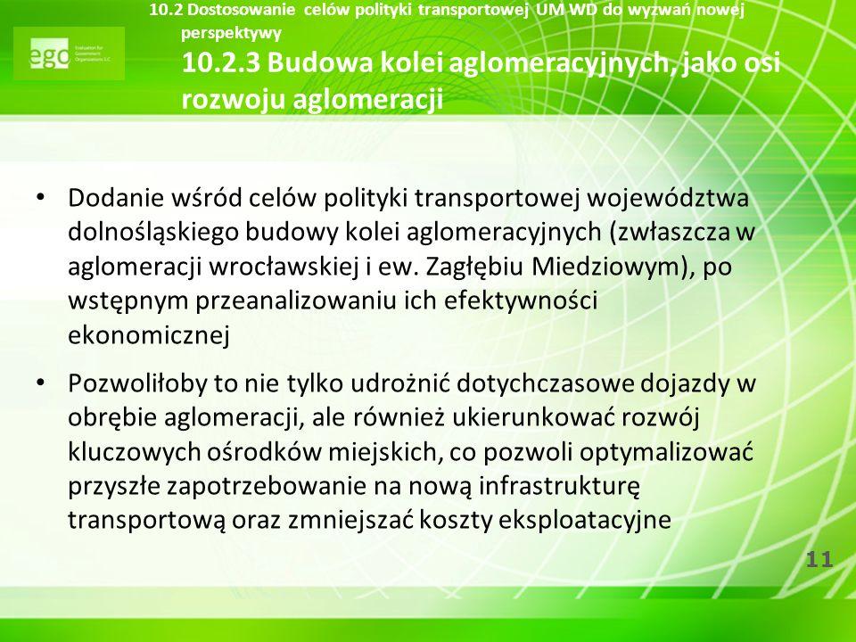 10.2 Dostosowanie celów polityki transportowej UM WD do wyzwań nowej perspektywy 10.2.3 Budowa kolei aglomeracyjnych, jako osi rozwoju aglomeracji