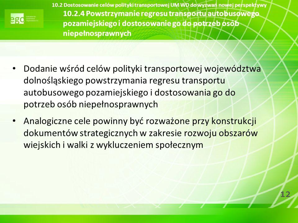 10.2 Dostosowanie celów polityki transportowej UM WD do wyzwań nowej perspektywy 10.2.4 Powstrzymanie regresu transportu autobusowego pozamiejskiego i dostosowanie go do potrzeb osób niepełnosprawnych