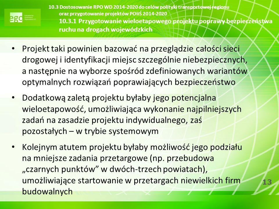 10.3 Dostosowanie RPO WD 2014-2020 do celów polityki transportowej regionu oraz przygotowanie projektów POIiŚ 2014-2020 10.3.1 Przygotowanie wieloetapowego projektu poprawy bezpieczeństwa ruchu na drogach wojewódzkich