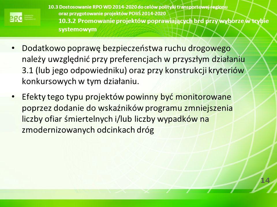 10.3 Dostosowanie RPO WD 2014-2020 do celów polityki transportowej regionu oraz przygotowanie projektów POIiŚ 2014-2020 10.3.2 Promowanie projektów poprawiających brd przy wyborze w trybie systemowym