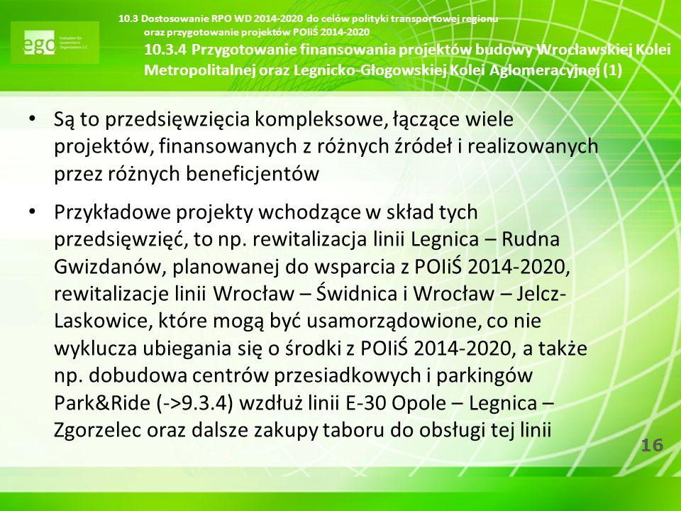 10.3 Dostosowanie RPO WD 2014-2020 do celów polityki transportowej regionu oraz przygotowanie projektów POIiŚ 2014-2020 10.3.4 Przygotowanie finansowania projektów budowy Wrocławskiej Kolei Metropolitalnej oraz Legnicko-Głogowskiej Kolei Aglomeracyjnej (1)