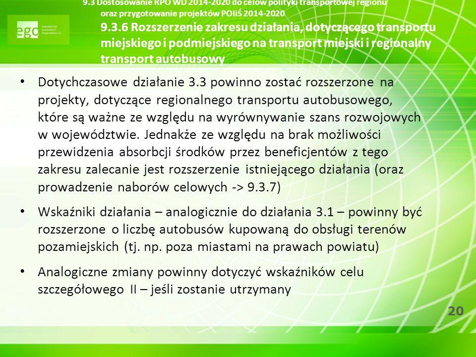 9.3 Dostosowanie RPO WD 2014-2020 do celów polityki transportowej regionu oraz przygotowanie projektów POIiŚ 2014-2020 9.3.6 Rozszerzenie zakresu działania, dotyczącego transportu miejskiego i podmiejskiego na transport miejski i regionalny transport autobusowy
