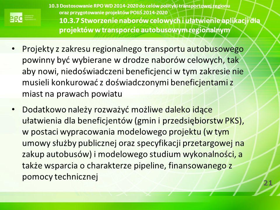 10.3 Dostosowanie RPO WD 2014-2020 do celów polityki transportowej regionu oraz przygotowanie projektów POIiŚ 2014-2020 10.3.7 Stworzenie naborów celowych i ułatwienie aplikacji dla projektów w transporcie autobusowym regionalnym