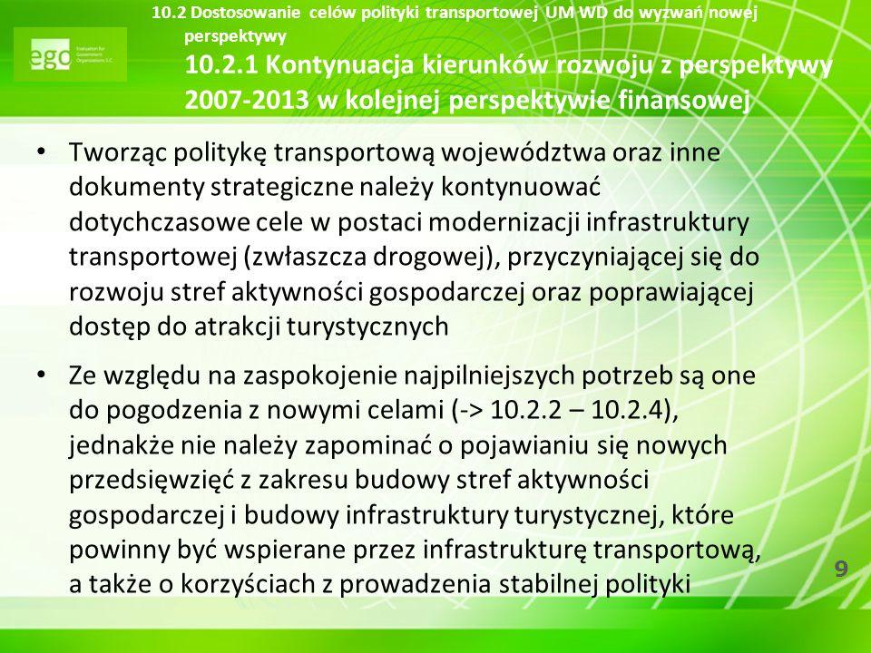 10.2 Dostosowanie celów polityki transportowej UM WD do wyzwań nowej perspektywy 10.2.1 Kontynuacja kierunków rozwoju z perspektywy 2007-2013 w kolejnej perspektywie finansowej