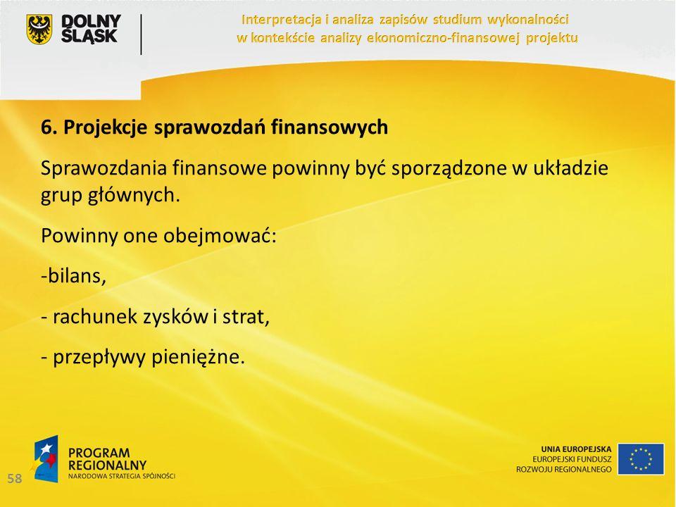 6. Projekcje sprawozdań finansowych
