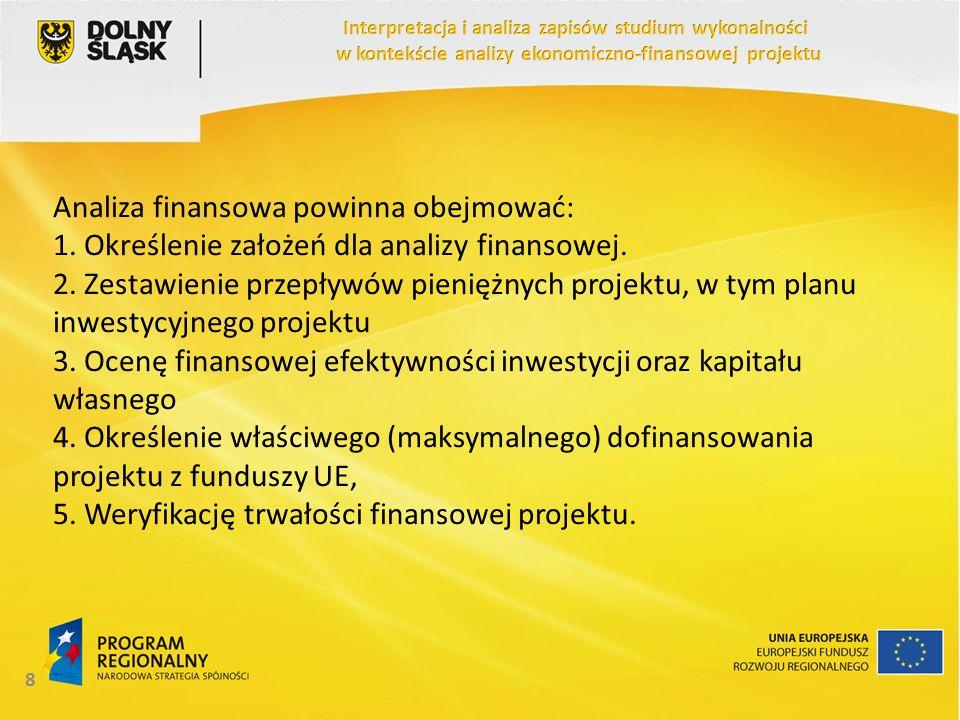 Analiza finansowa powinna obejmować: