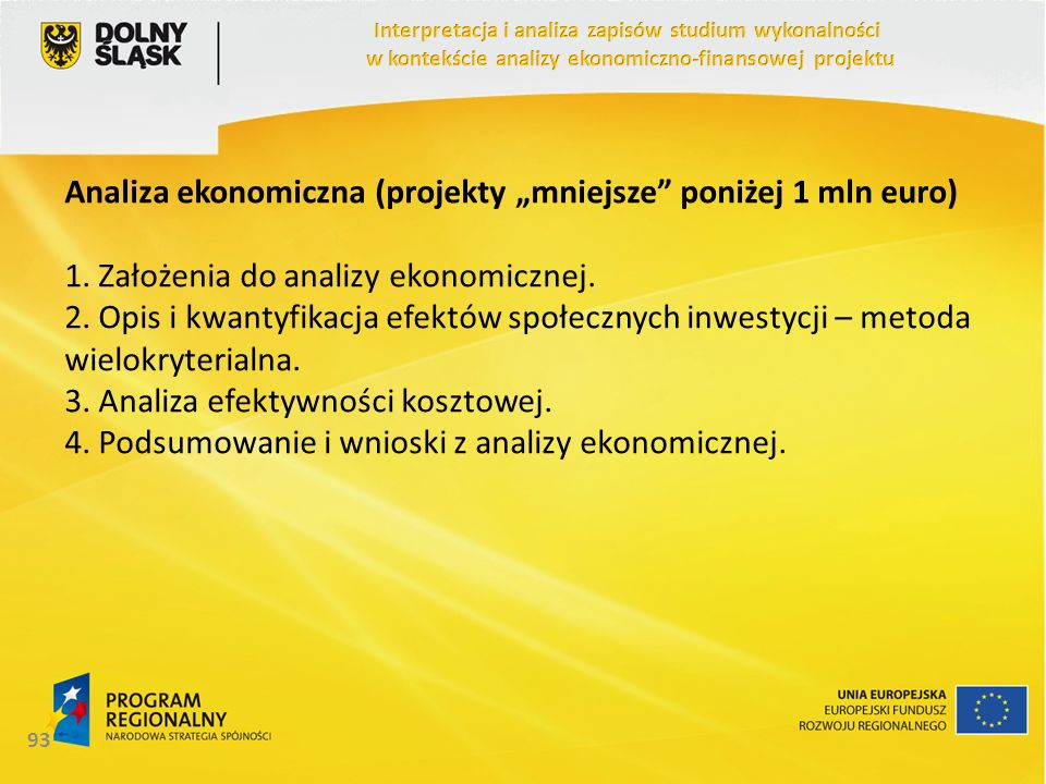 """Analiza ekonomiczna (projekty """"mniejsze poniżej 1 mln euro)"""