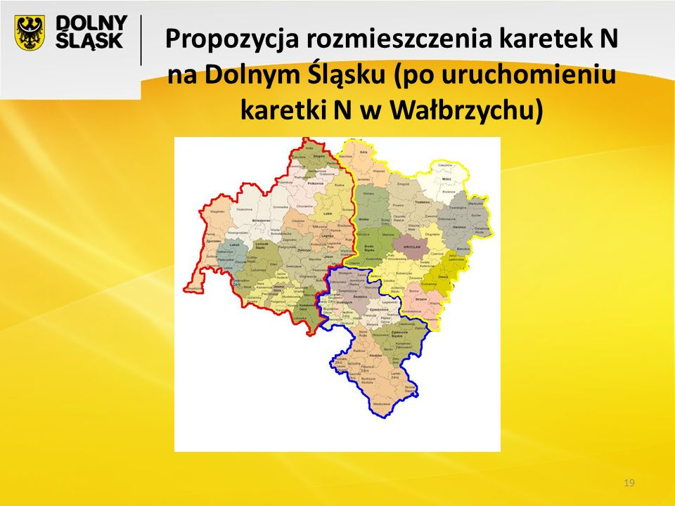 Propozycja rozmieszczenia karetek N na Dolnym Śląsku (po uruchomieniu karetki N w Wałbrzychu)
