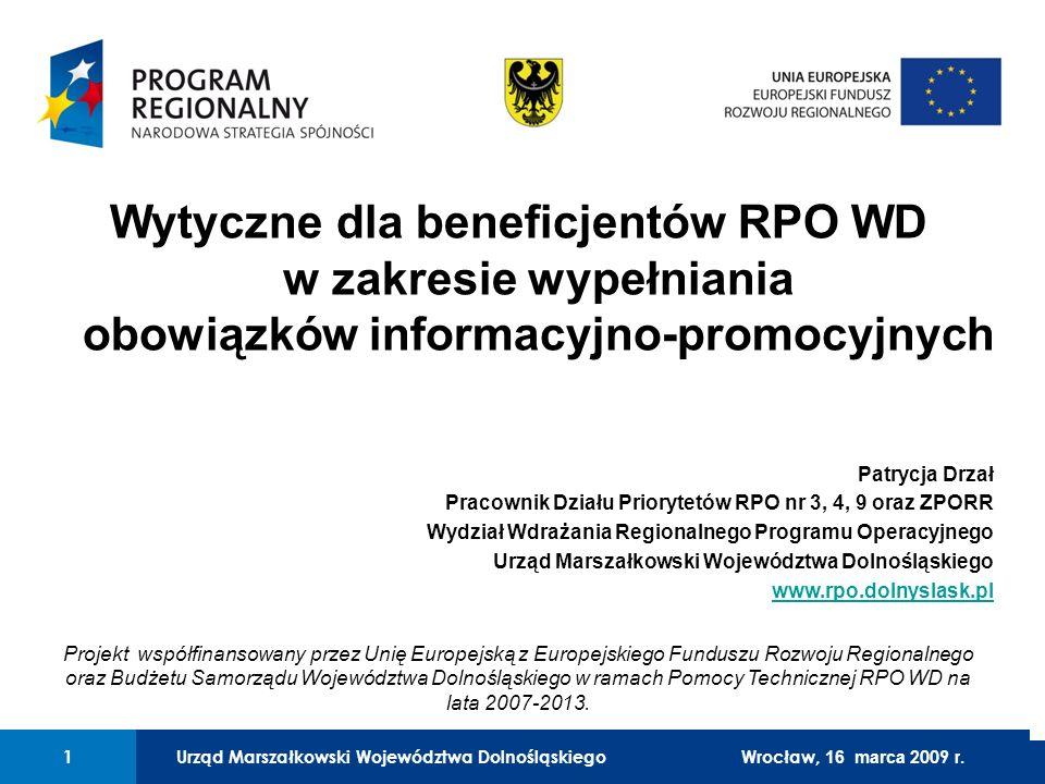 Wytyczne dla beneficjentów RPO WD w zakresie wypełniania obowiązków informacyjno-promocyjnych