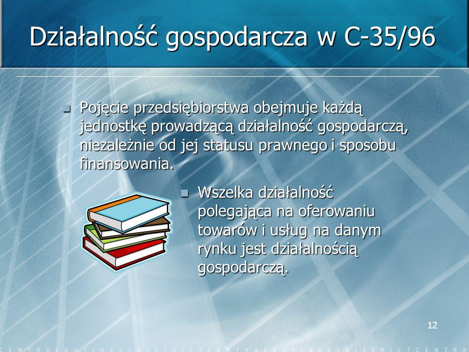 Działalność gospodarcza w C-35/96