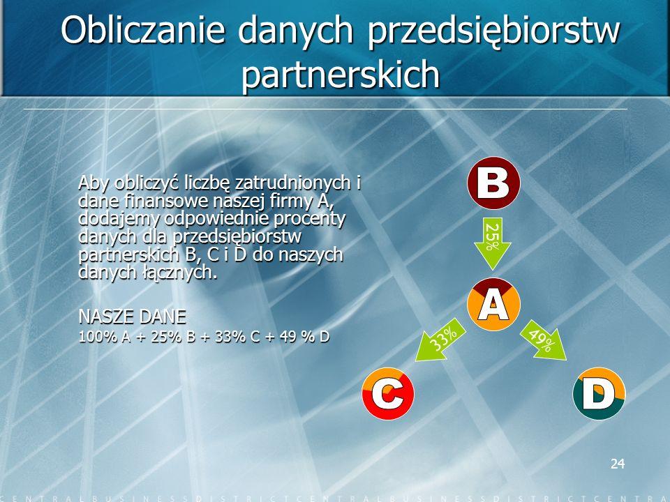 Obliczanie danych przedsiębiorstw partnerskich