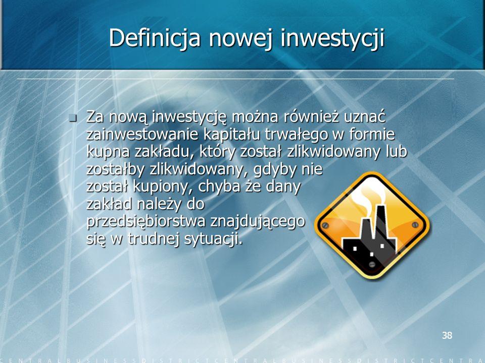 Definicja nowej inwestycji