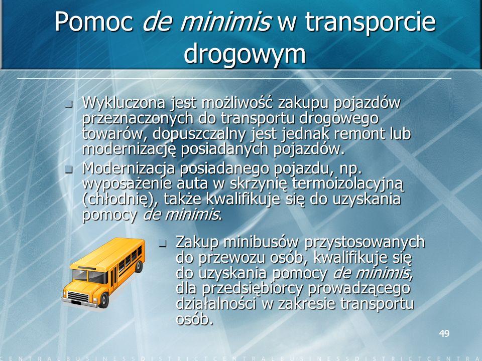 Pomoc de minimis w transporcie drogowym