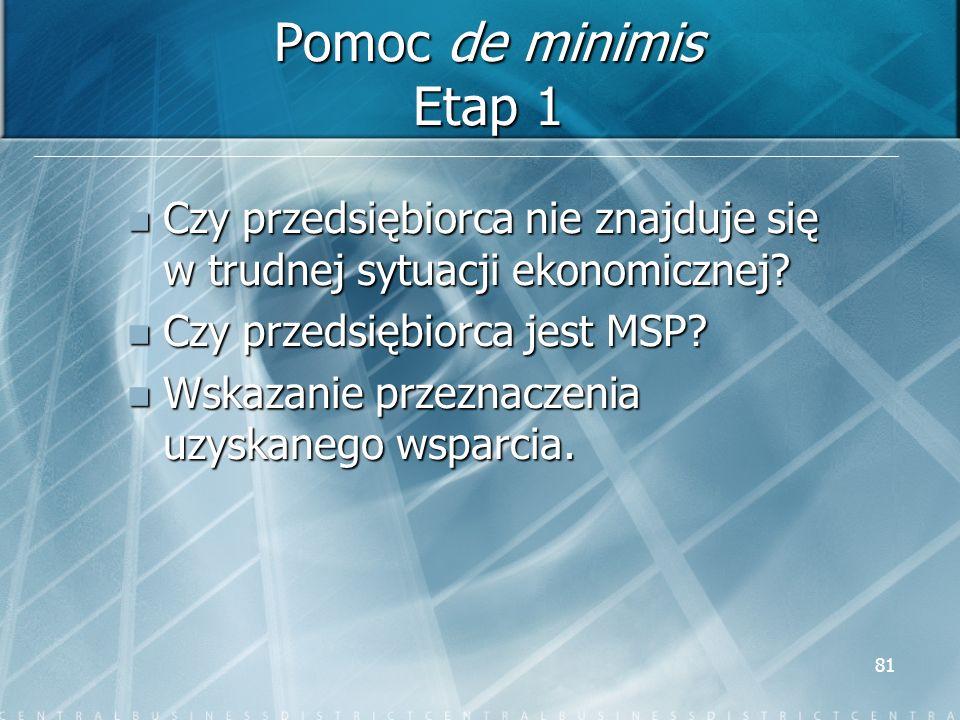 Pomoc de minimis Etap 1 Czy przedsiębiorca nie znajduje się w trudnej sytuacji ekonomicznej Czy przedsiębiorca jest MSP