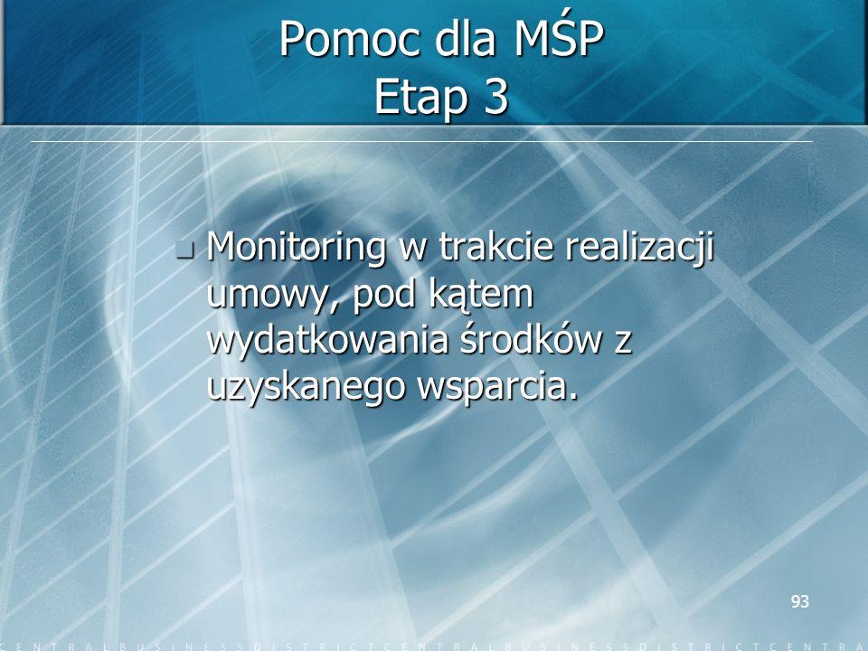Pomoc dla MŚP Etap 3 Monitoring w trakcie realizacji umowy, pod kątem wydatkowania środków z uzyskanego wsparcia.