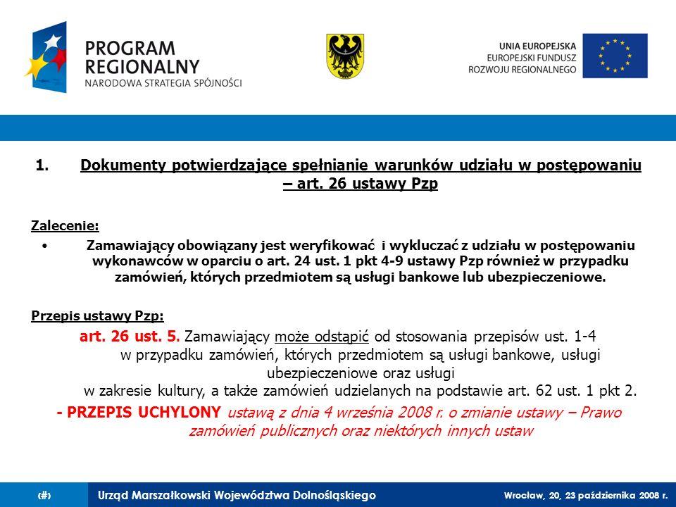 Dokumenty potwierdzające spełnianie warunków udziału w postępowaniu – art. 26 ustawy Pzp