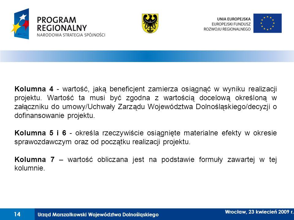 Kolumna 4 - wartość, jaką beneficjent zamierza osiągnąć w wyniku realizacji projektu. Wartość ta musi być zgodna z wartością docelową określoną w załączniku do umowy/Uchwały Zarządu Województwa Dolnośląskiego/decyzji o dofinansowanie projektu.