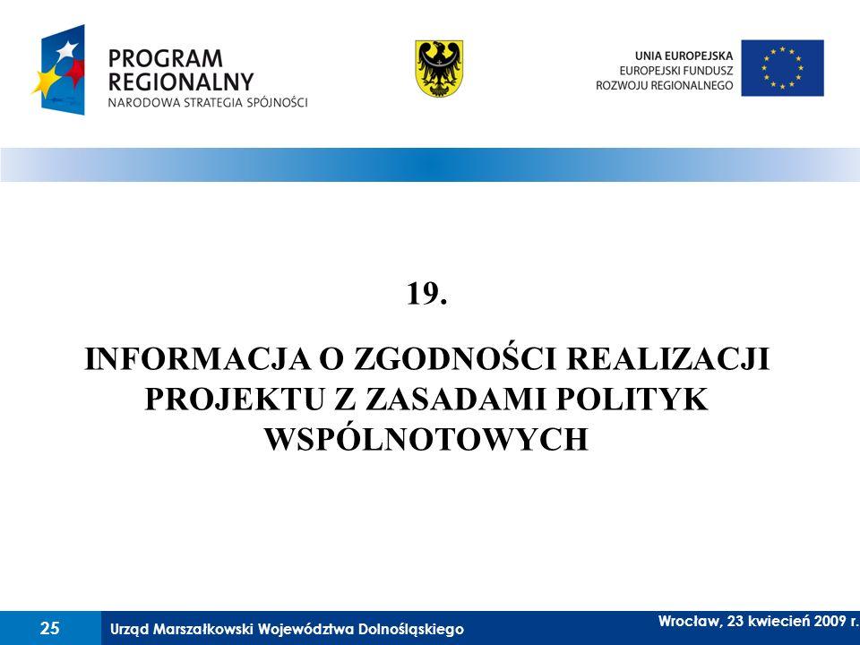 19. INFORMACJA O ZGODNOŚCI REALIZACJI PROJEKTU Z ZASADAMI POLITYK WSPÓLNOTOWYCH
