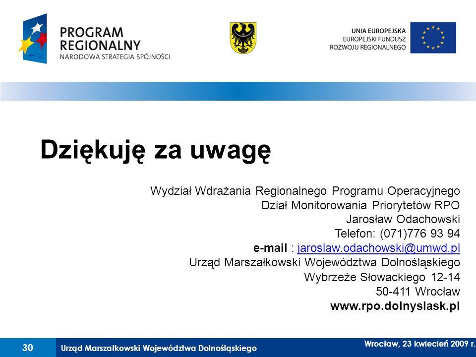 Dziękuję za uwagę Wydział Wdrażania Regionalnego Programu Operacyjnego