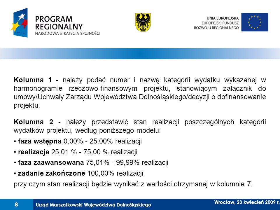Kolumna 1 - należy podać numer i nazwę kategorii wydatku wykazanej w harmonogramie rzeczowo-finansowym projektu, stanowiącym załącznik do umowy/Uchwały Zarządu Województwa Dolnośląskiego/decyzji o dofinansowanie projektu.
