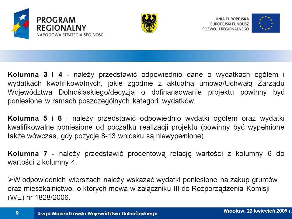 Kolumna 3 i 4 - należy przedstawić odpowiednio dane o wydatkach ogółem i wydatkach kwalifikowalnych, jakie zgodnie z aktualną umową/Uchwałą Zarządu Województwa Dolnośląskiego/decyzją o dofinansowanie projektu powinny być poniesione w ramach poszczególnych kategorii wydatków.