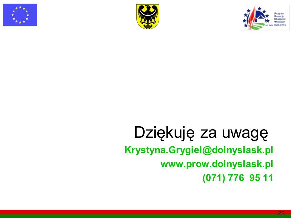 Dziękuję za uwagę Krystyna.Grygiel@dolnyslask.pl