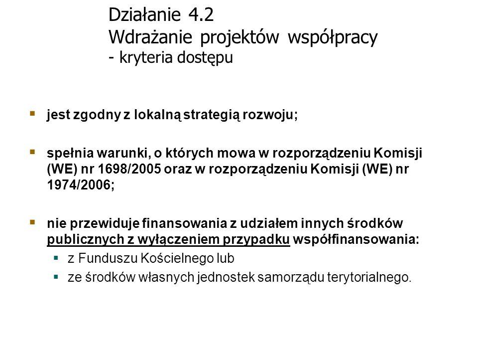 Działanie 4.2 Wdrażanie projektów współpracy - kryteria dostępu