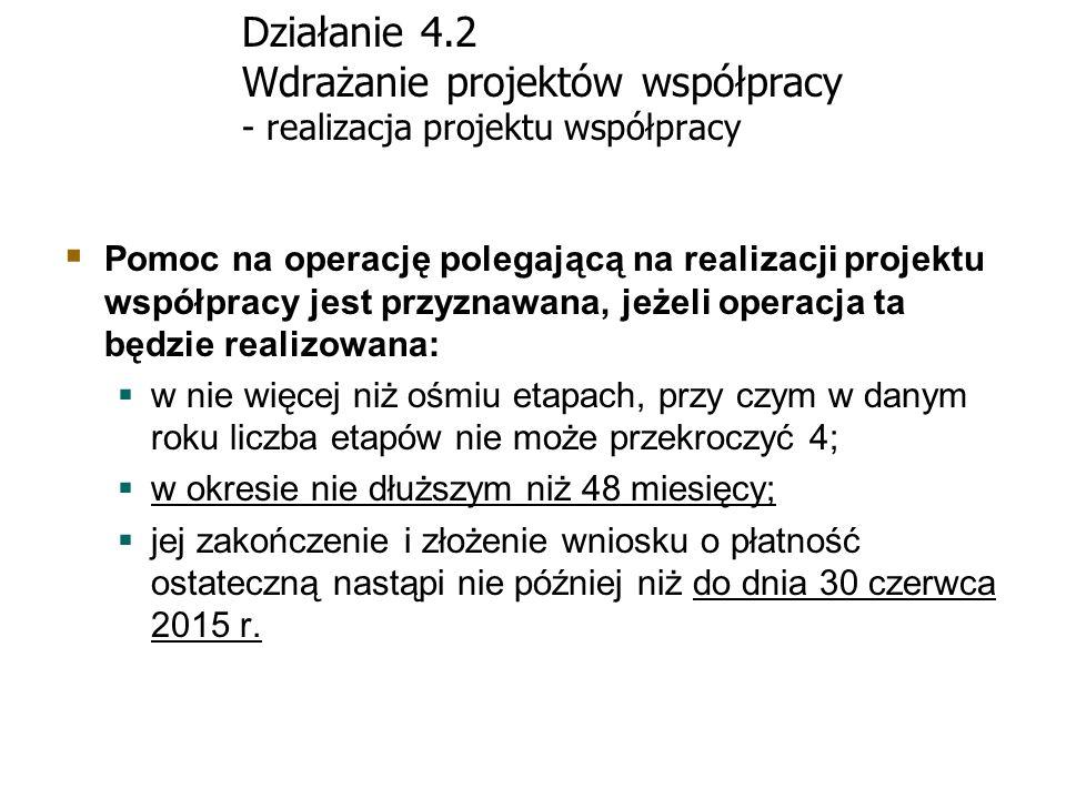 Działanie 4.2 Wdrażanie projektów współpracy - realizacja projektu współpracy