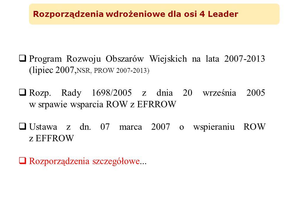 Ustawa z dn. 07 marca 2007 o wspieraniu ROW z EFFROW