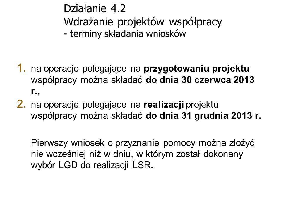 Działanie 4.2 Wdrażanie projektów współpracy - terminy składania wniosków