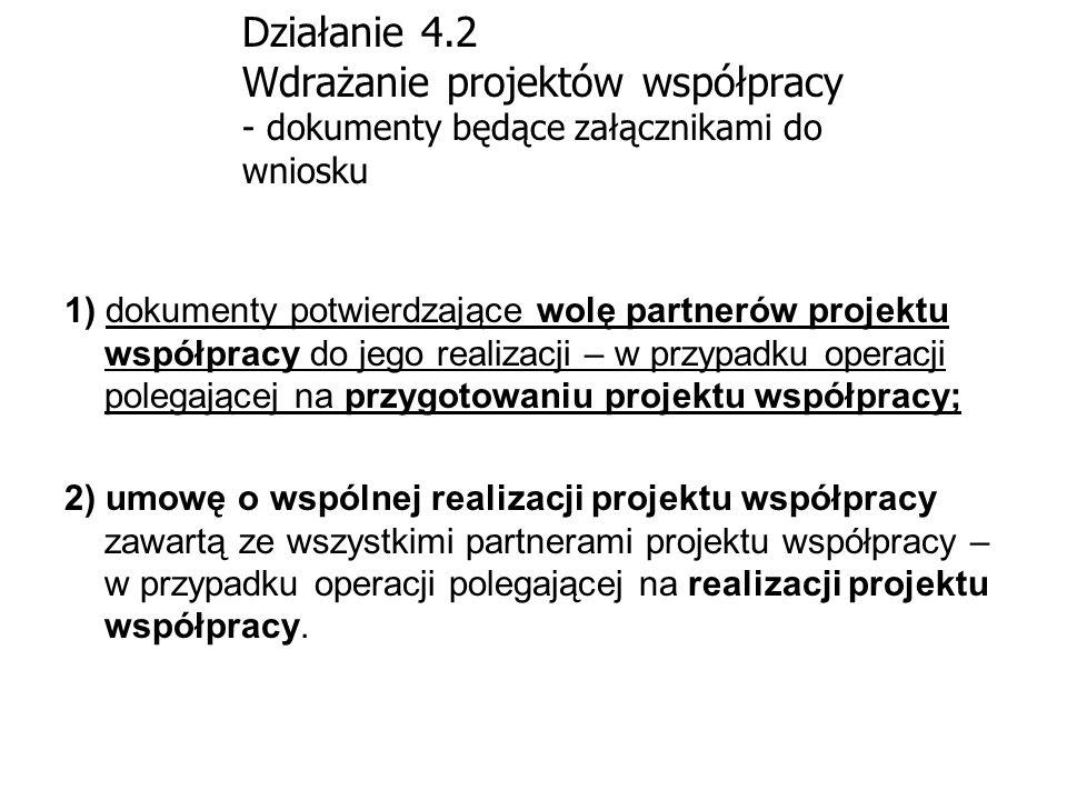 Działanie 4.2 Wdrażanie projektów współpracy - dokumenty będące załącznikami do wniosku