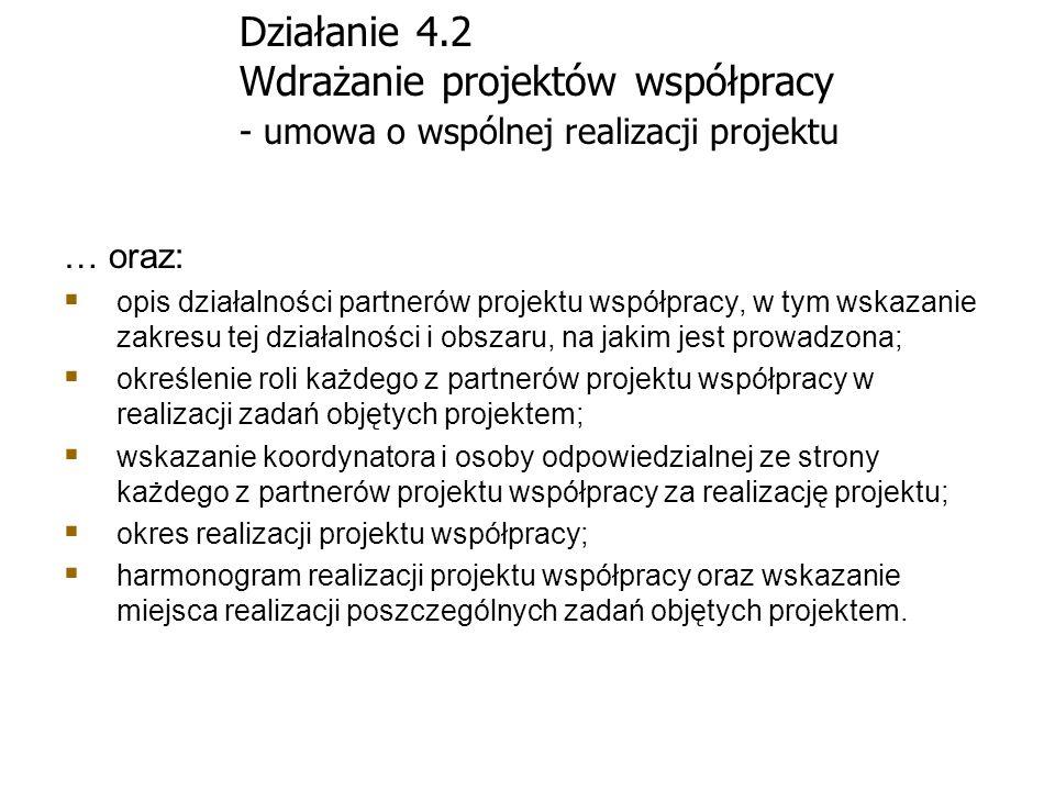 Działanie 4.2 Wdrażanie projektów współpracy - umowa o wspólnej realizacji projektu