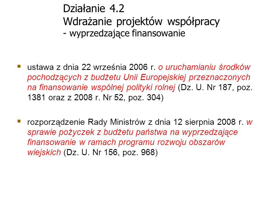 Działanie 4.2 Wdrażanie projektów współpracy - wyprzedzające finansowanie